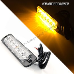 Wholesale Truck 24v Emergency Lights - free shipping 4pcs 12W led strobe light car emergency beacon light bar for pickup truck offroad motorcycles amber white safety warning lamp
