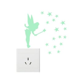 Wholesale 3d Fairy Stickers - 8.5cm * 13cm Sit Tinker Bell Fluorescent Luminous Wall Stickers Glow in Dark Stars Fairy Poster Home Decoration Accessories