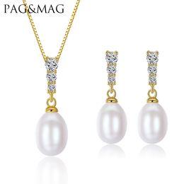 pulsera de perlas de plata esterlina Rebajas PAGMAG Marca 925-Sterling-Silver Women Jewelry Sets 8-9mm Natural de agua dulce Pearl Pearl Necklace Factory por mayor