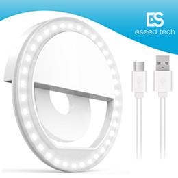 Iluminação eficiente on-line-Brilho ajustável portátil recarregável do anel da luz de Selfie conduzido com a bateria que reforça a cor eficiente de quatro cores com Retail Packa