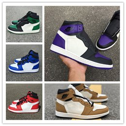 hot sales 34d4f f60eb Wholesale New 1 I High OG GREEN pine white PURPLE court MEN Basketball Shoes  designer 1s sneakers sports outdoor trainers SIZE 7-13
