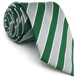 """Wholesale grey neckties - D31 Green Grey Striped Silk Mens Necktie Classic Novelty Extra long size 63"""" Groom Fashion Dress Ties for male Hanky"""