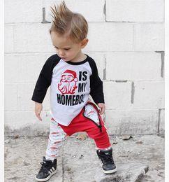 Roupas de bebê menino santa on-line-Crianças meninos papai noel impressão outfits carta de natal top + calças 2 pcs set new outono moda conjuntos de roupas de bebê infantil ternos roupas