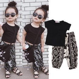a8543436e45 Summer Boho kid baby boys girls clothing black t-shirt geometric harem  pants 2-piece set outfits cute kids girl boutique clothes boho baby clothing  for sale