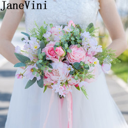pink flower brooches 2018 - JaneVini Pink Wedding Bouquet With Feathers Elegant Bridal Bouquet Artificial Flower For Bride Wedding Groom Flower Brooch Mariage Deco
