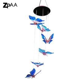 Luci solari a farfalla alimentate a energia solare online-Windlights per esterni Solar Powered LED che cambia colore chiaro Butterfly Wind Chimes Garden Lights per il giardinaggio Decorazione di illuminazione
