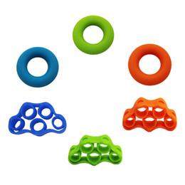 Dedos de corda on-line-Xc 6 pçs / set dedo bandas de resistência do dedo maca exercitador griper para exercício conjunto completo acessórios de equipamentos de fitness