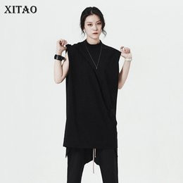 tees korea women Promo Codes - [XITAO] 2018 Korea New Summer Fashion Women Solid Color Sleeveless T-Shirts Female Stand Collar Loose Pullover Tees KZH1942