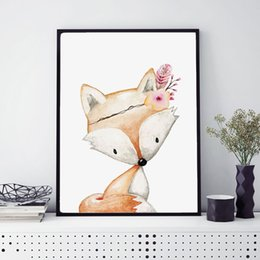 Wholesale Mirror Sheets - Girls Woodland Fox Birth Watercolor Prints Animal Wall Art Picture Little Girl's Room Decor Home Wall Art Painting No Frame L137