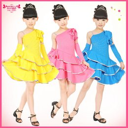 Wholesale latin dance outfits - Children's Dancewear Performance Costumes Sequined Gymnastics Tap Dance Ball Gown Dress Leotard Outfits Girls Latin Dresses