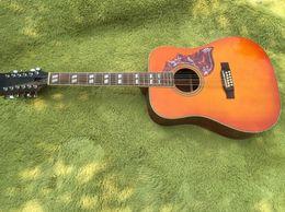 Wholesale Honey Burst Guitar - GH-12 Custom Quality Orange burst hummbird acoustic guitar GB honey burst Spruce Top Body 21 Tone Position Musical Instruments Free Shipping