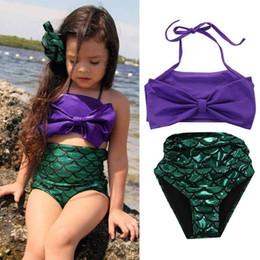 Wholesale Little Girls Mermaid Costumes - Girls Little Mermaid Bikini Suit Swimmable Swimming Princess Costume Swimsuit kids toddler girls swimming suits 2pcs FFA072