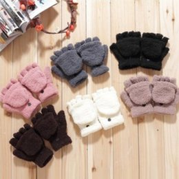 Wholesale Gloves Half Fingers Flip - Hot Sale Women Gloves Solid Color Half Finger Lovely Convenience Writing Flip Gloves Gifts Friend ST031