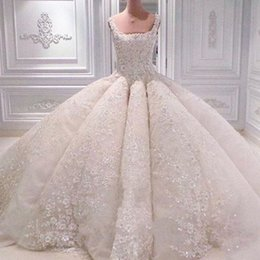 plus size fluffy dresses Coupons - Ravishing Crystal Beads Wedding Dresses Sexy Gorgeous Petals Applique Lace Ball Gown Wedding Dress Luxury Dubai Princess Fluffy Wedding Gown