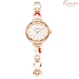 Wholesale Water Resistant Watch China - 2018 Novel Ladies Watches with Ceramic Round Beads Stainless Steel Back Lady Women Female Retro china Diamond Bracelet Clock Watch Saat