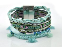 Wholesale Brazil Weave - New Brazil Style Bracelet National Light Green Handmade Woven Rope Tassel Charm Bracelet With Bead Beach Women Fashion Jewelry