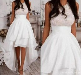 85f226fa50e Ivory New High Low Bridesmaid Dresses Jewel Hi-Lo Short Country Garden  Beach Wedding Guest Gowns Maid Of Honor Dress Prom Party Wear Cheap