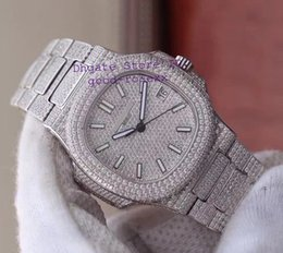 braceletes de platina para homem Desconto Relógio Automático dos homens de luxo Platinum Suíço Miyota Cal.9015 324SC Completa Pave Dial Diamante Pulseira Caso Nautilus 5711 Rhinestone Homens Relógios
