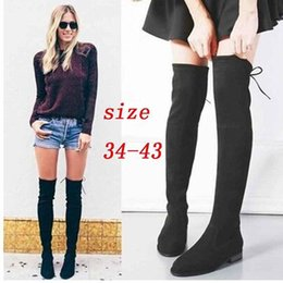 Wholesale Thigh Boots Cross - Cross Abroad Trade Will Code 2017wish The Explosion Woman Boots European Overknee Circle Head Flat Bottom Side Zipper Elastic Force Boots
