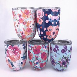 Wholesale art stocks - 2018 New 10oz egg cups Wine Glasses tumbler Stainless Steel Beer Coffee Mugs Double Wall Vacuum Insulated cups With Clear Lids Red Wine Cup