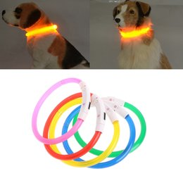 Wholesale Usb Belt - 35 70cm USB Rechargeable Pet Collar LED Light Band Waterproof Dog Safety Collar Belt New H06
