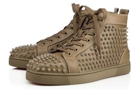 Wholesale Stud Sneakers For Men - Hot Wholesale Loubs Spikes Men's Flat Sneakers Olive green Loubs red bottom shoes stud sneakers for men women high top