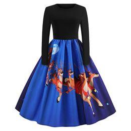 cielo swing Sconti Red Blue Sky Blue Dress Donna O-Collo Abiti eleganti natalizi vintage Santa Deer Print A-line manica lunga Swing Dress per le donne