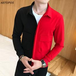 Schwarz Rot Jacke Designer Party Club Mode Slim Fit 2017 neue Herren Herbst  Jacke Outfit Männer Kontrastfarbe Casaca Hombre club outfit männer Angebote e799f605d9