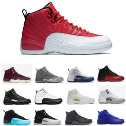 Wholesale Blue Star Silk - High quality Basketball Shoes 12 Gym Red Dark Grey Men Women 12s Black Red Taxi Blue Sneakers Sports Shoes Free Shipping With Box