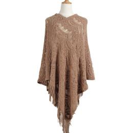 crochets médiatiques Promotion 2018 crochet long pull à fleurs gland irrégulier creux femme manteau châle pull