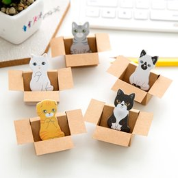 Wholesale Books House - Cute Kitty House Kawaii Magnetic Paper pad Bookmark Lovely Cat dog Book Marks Office School Supplies Sticker Sticky Notes
