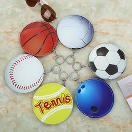 Wholesale ball boys football - Creative lovely coin purse cartoons basketball football shape coin bag mini storage bag With key ring BBA287