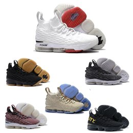 Wholesale Winter High Cut Running Shoes - (With Box) 2018 high Quality Lebrons 15 Men Basketball Shoes Black Gum Sports Shoes Cavs Ashes Ghost Wine Equality Running Shoes 40-46