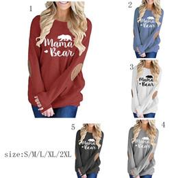 Camisetas para las mamás online-Mama Bear gráfico camisetas otoño parcheado Monogram Pullovers Moms women Tees 2018 moda Mama Tops MMA858