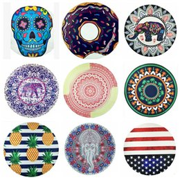 compressed beach towels Promo Codes - Chiffon Round Beach Towel Mandala Beach Blanket Hip Hop Wall Hanging Tapestry Yoga Mat Skull Donuts Elepant Printing 40 Designs YW367-2
