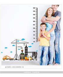 Wholesale Building Wall Tile - Removable Home Wall Sticker Kid Car Building Height Chart Measure Decal Children Room Decor