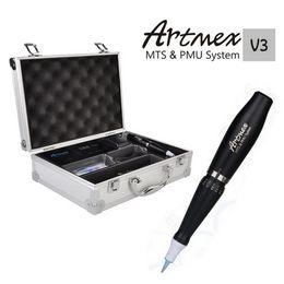 máquina de tatuajes rotativos Rebajas Kits Permanentes Artmex V3 Maquillaje Permanente Micro-aguja Ceja Maquillaje Rotulador Rotativo Máquina de Tatuaje Motor Eléctrico Pluma MTS PMU