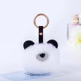 Wholesale Ball Bearing Keychain - Bear 9CM Fur PomPom KeyChain Rabbit Hair Bulb Bag pom pom Ball key chain Pendant porte clef for women Lovely Fluffy