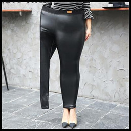 Wholesale Sexy Pu Clothing - Fashion Club Leggings Plus Size Elastic Women Smooth PU Leather Sexy Female Pants Sexy Party Clothing Trousers CCA8433 10pcs