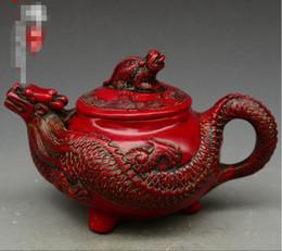 decorazioni di drago rosso Sconti Antique Miscellaneous Qing Emperor Qianlong Red Coral intaglio a forma di drago Pot Home Decoration Vintage Collection
