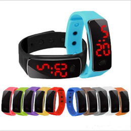 touch bracelet Coupons - Hot wholesale New Fashion Sport LED Watches Candy Jelly men women Silicone Rubber Touch Screen Digital Watches Bracelet Wrist watch