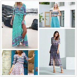 Bohemian V-neck Maxi Long dress Women Floral Print Retro Hippie vestidos Clothing  Boho Big Plus Size Casual Beach Summer Dresses M195 discount boho hippie ... d1a160eb2f34