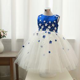 menina flor vestidos de cor azul Desconto Menina Princesa Vestido Anfitrião Grosso E Desordenado Fios Saia Sapphire Azul Flor Cor Princesa Saia Crianças Show Vestido De Noiva Vestido Completo