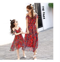 Wholesale Silk Bohemia - Mother and Daughter Matching Dresses Silk Flower Pattern Bohemia Style Summer Suspender O Neck Mom Daughter Clothing B11