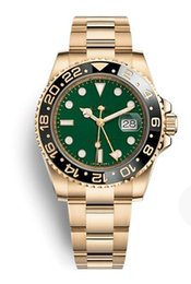 Wholesale Ceramic Ring Stainless Steel - 40mm top luxury GMT4 needle high end wristwatch, gold black ceramic surface ring, green dial gold stainless steel strap AAA free freight