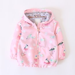 Wholesale kids girls children leather jacket - Everweekend Kids Girls Candy Color Birds Print Autumn Winter Jacket Outwears with Hats Pink Color Zipper Fashion Children Coats B11