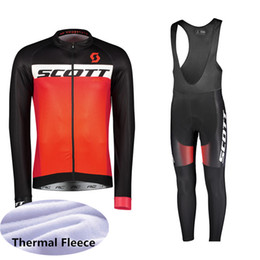 4xl radsport langarmtrikot online-2019 SCOTT Winter-thermisches Vlies Radfahren Langarmtrikot Cycling Racing MTB Maillot Bike Bib Long Pants Set Ropa Ciclismo K111233