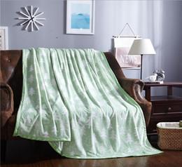Wholesale Flannel Bedspread - 150x200cm soft green brown tree pattern flannel blanket adult bed sheet coral fleece blanket bedspread