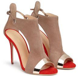 Tacones de gladiador sandalias de gamuza online-Nuevo diseño Moda para mujer Peep Toe Suede Leather Thin Heel Gladiador Sandalias Recorte Patchwork Thin High Heel Sandals Zapatos de vestir formales