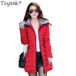 Wholesale ladies down coat medium - Wholesale- Tcyeek Women's cotton-padded jacket 2017 winter medium-long down cotton plus size jacket female ladies jackets and coats YG888